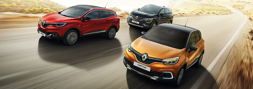 The Renault Crossover range, driving through a desert