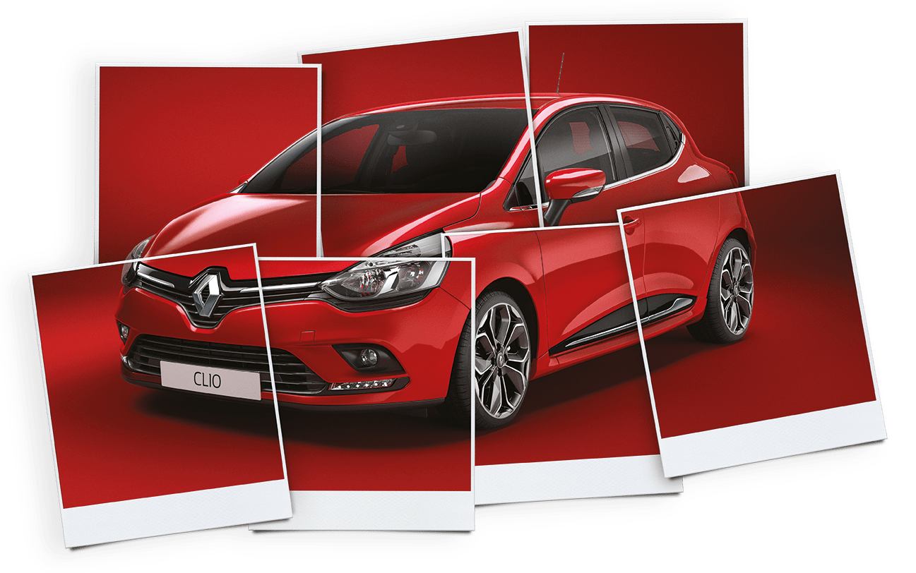 Red Renault Clio in polaroid picture frames