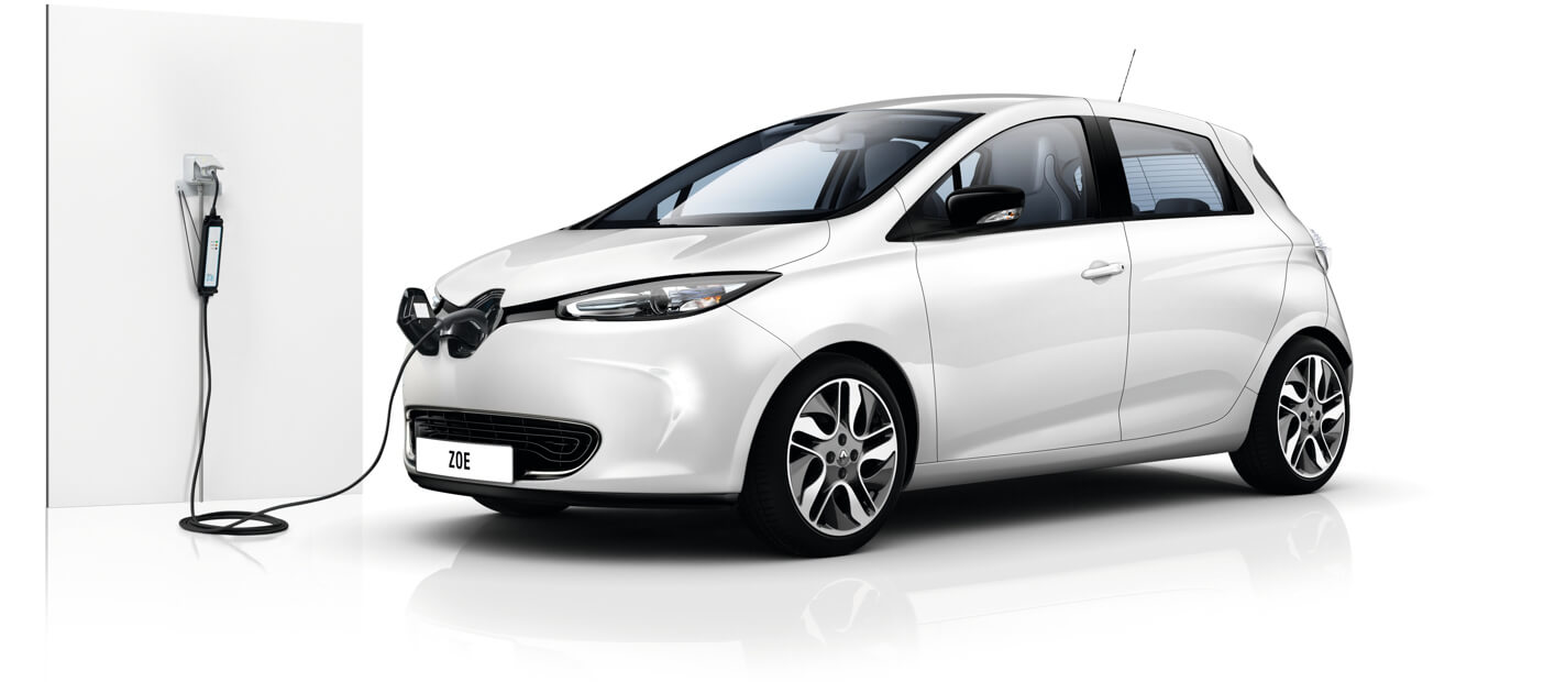 Renault Zoe plugged into wall charger