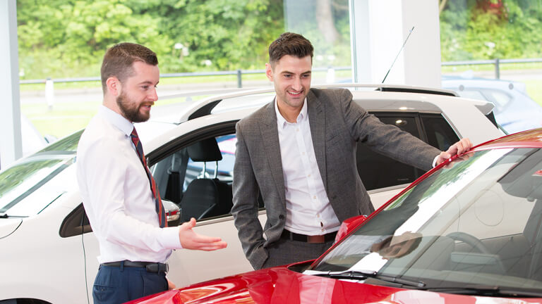 Salesman showing young professional a new car