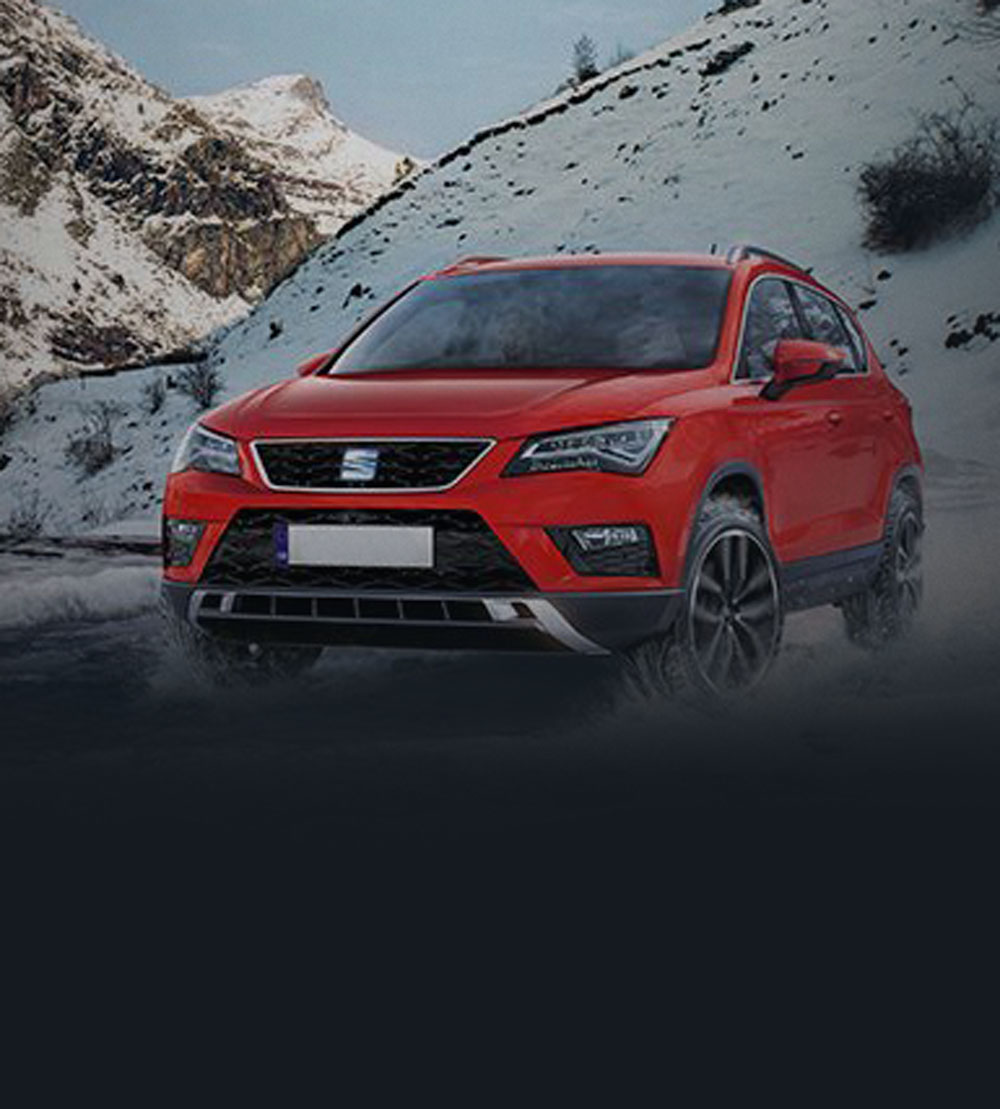 Red Seat Ateca in snow