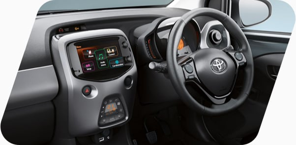 Interior of the Toyota Aygo with purple trims