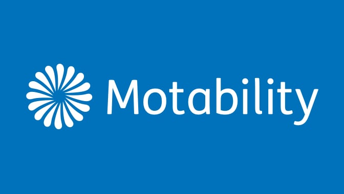 Motability logo with blue background