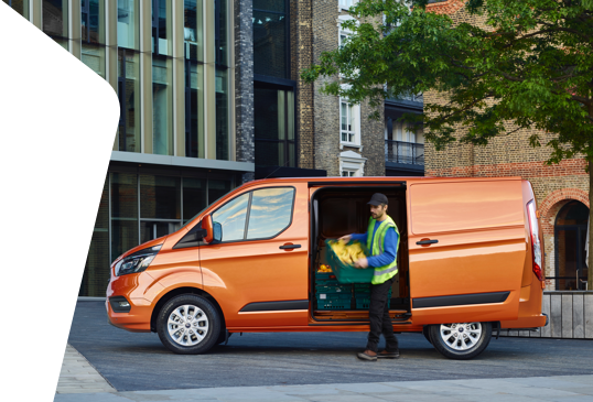Image of a man unloading an orange van