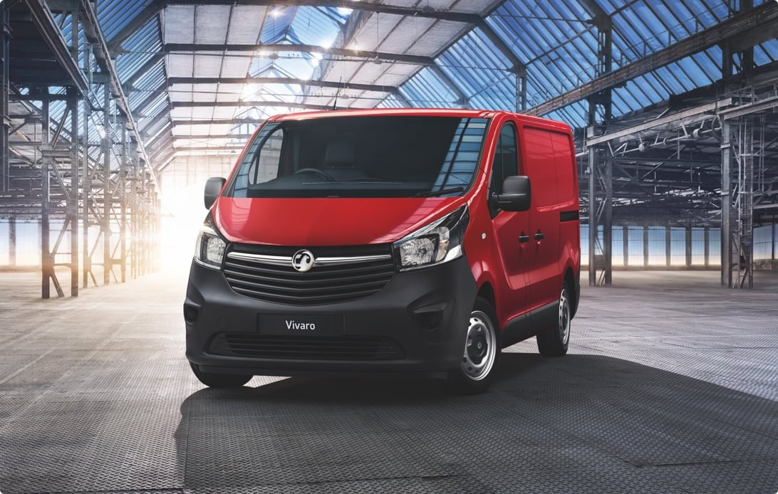 Red Vivaro van in a warehouse