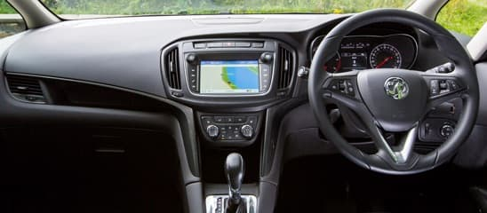Inside the Zafira showing infotainment system and dashboard.