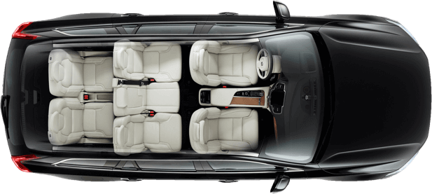 Top down view of Black Volvo XC90 showing interior